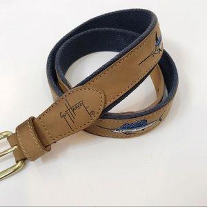 Guy Harvey Men's Blue & Brown Swordfish Belt